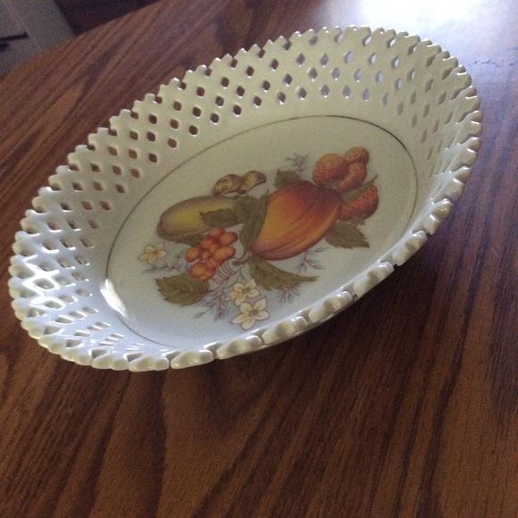 Vintage Other - Vintage lace porcelain bowl fruit design +